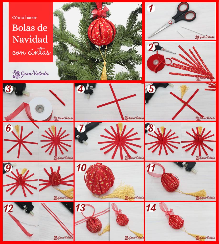 Cómo hacer bolas de navidad con cintas